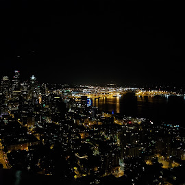 Night in Seattle  by Artemisa Bega - City,  Street & Park  Skylines ( skyline, seattle, night, view, spaceneedle )