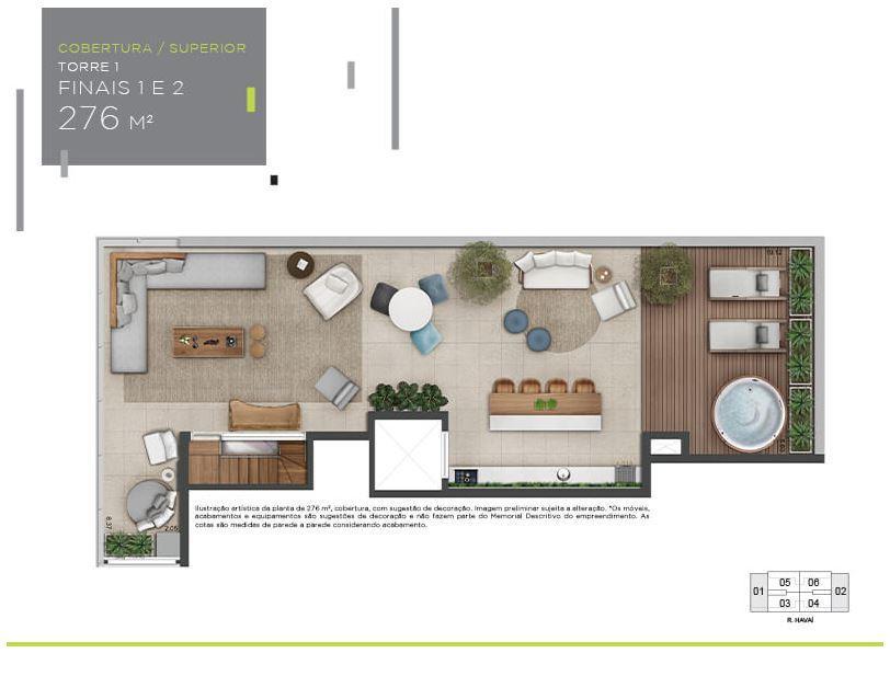 Planta Cobertura Superior - 276 m²