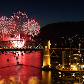 Into the fire by Nico Carbajales - City,  Street & Park  Skylines ( shore, water, canon, canada, ocean, architecture, vancouver, 50d, fire, city, lights, fireworks, long exposure, celebration, bridges, bc )