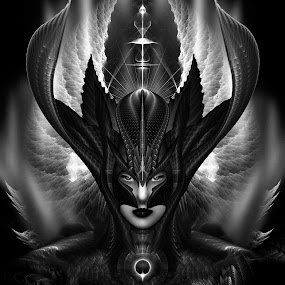 Taidushan Sai The Talons Of Time Fractal Portrait by Rolando Burbon - Illustration Sci Fi & Fantasy ( queen, imperial, beautiful, empress, beauty, portrait, flame, portraiture, fantasy, time, dark gray, female, wings, dark, lady, fractal, darkness )