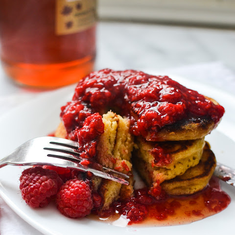 Honey Cornbread Pancakes with Raspberry Sauce