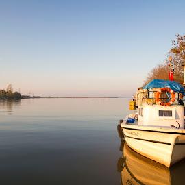 by Bahadir Helli - Transportation Boats ( mirrored reflections, water, nature, riverside, ship, river )