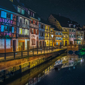 Colmar, Alsace, France by Crinu Topalo - Buildings & Architecture Homes ( reflection, france, night, travel, colours )