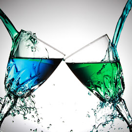 twin glasses 8.67 by Peter Salmon - Artistic Objects Glass