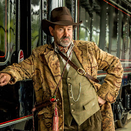 Steampunk by Mandy Hedley - People Portraits of Men ( railway, train, steampunk, portrait, man )