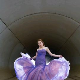 by Feeney Chuah - Wedding Bride ( butterfly, potrait, purple, fly, gown, bride )