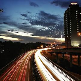 Streaks of lights by Norhan Sukaatti - City,  Street & Park  Street Scenes ( mobilography, light trails, low light, dusk, street photography )