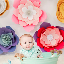 Easter Cutie by Jenny Hammer - Babies & Children Babies ( spring, basket, flowers, baby, easter, cute, boy )