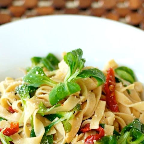 Low Carb Pasta with Wilted Mache