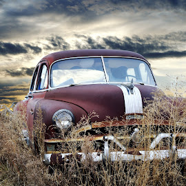 Pontiac by Joerg Schlagheck - Transportation Automobiles ( car, clouds, sky, gone, rusty, wreck., pontiac, disfunctional )