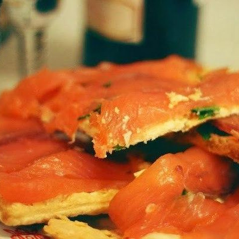 Quick And Easy Snack To Blame — Salmon With Curd Cheese And Herbs On Puff Pastry