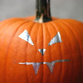 Painted Pumpkin by Amanda  Castleman  - Public Holidays Halloween ( scary, gourd, face, pumpkin, vegetable, halloween )