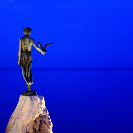 Lady of Opatija by Ansari Joshi - Buildings & Architecture Statues & Monuments ( statue, blue, night, seascape, landscape )