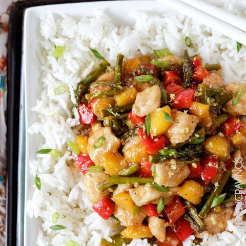 Honey Lemon Chicken Asparagus Mango Stir Fry (30 minutes)