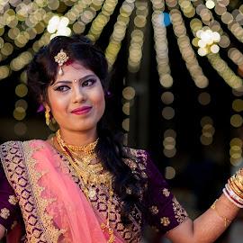 bride by Rathin Das - Wedding Bride ( bride, bokeh, wedding, portrait, low light )