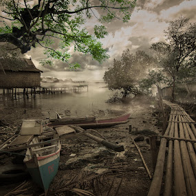 Jenta by Amril Nuryan - Digital Art Places ( village, fog, dirty, dark, bridge, boat, myst )