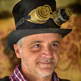 Steampunker Dragan by Marco Bertamé - People Portraits of Men ( goggles, dragan, steampunk, black, man, portrait, hat,  )