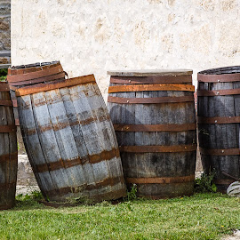 Barrels by Dave Lipchen - Artistic Objects Still Life ( barrels, lower fort garry, manitoba )