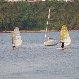 beach side dona poula jetty by Nagaraj Kukke - Sports & Fitness Surfing ( water, beaches, sports, boat, people )