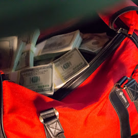A bag full of money by Florin Marksteiner - Artistic Objects Other Objects ( red, robbery, moneybag, money, dollar, bills,  )
