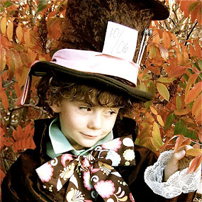 by Lori Lei Herr - Babies & Children Children Candids ( expression, orange, storybook, fairy tale, alice in wonderland, green, children, leaves, brown hair, mad hatter, hat, halloween, child, story, brown eyes, autumn, fall, costume, brown, smile, boy, antique )