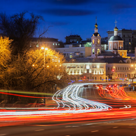 Moscow today by Olga Parshina - City,  Street & Park  Street Scenes ( center, clouds, lights, traffic, russia, church, moscow, way, town, cityscape, road, city,  )