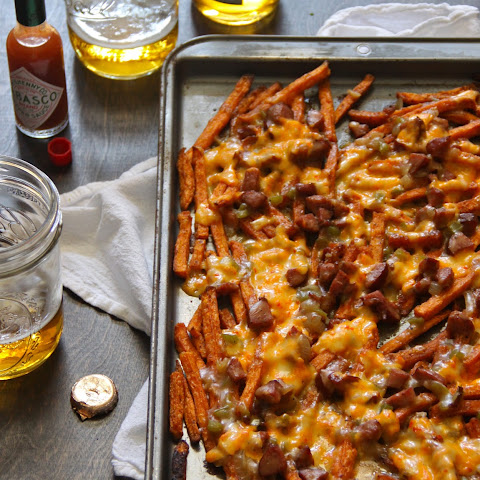 Sweet Potato Fries with Andouille Gravy and Pimento Cheese