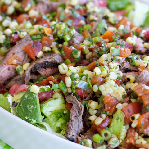 South-of-the-Border Steak Salad with Grilled Pepper & Corn Salsa