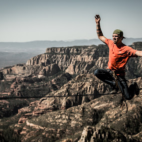 Take a Kneel by Preston Trauscht - Sports & Fitness Other Sports ( wild, orange, high line, extreme, rope, awesome, crazy, cliff, male, sports, sedona, , Free, Freedom, Inspire, Inspiring, Inspirational, Emotion )