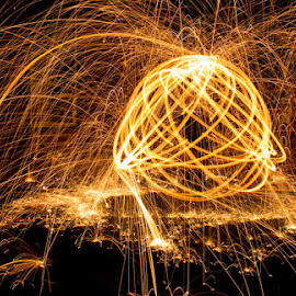 Ball of light by Andrew Lancaster - Abstract Light Painting ( lightlightpainting, abstract, ball, electric, fireworks, night, light, fire )