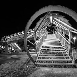 Pedestrian Overpass by Wolfgang Hackl - Buildings & Architecture Bridges & Suspended Structures ( lights, urban, no person, night, city )