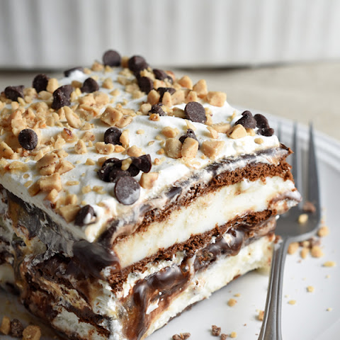 Hot Fudge Caramel Ice Cream Bar Cake