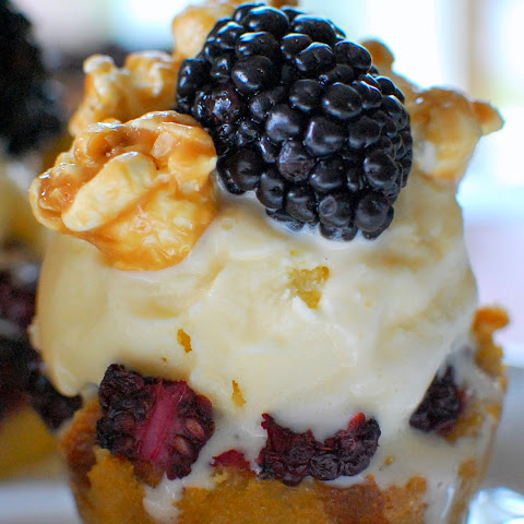 Blackberry Cornbread Pudding with Caramel Corn