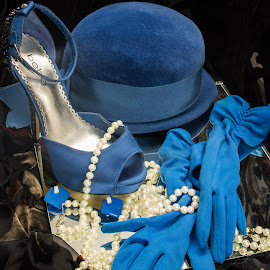 Dressed in Blue by Eva Ryan - Artistic Objects Clothing & Accessories ( tabletop photography, blue, pearls, gloves, shoe, necklace, hat,  )