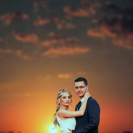 Sunset Couple by Shane Vermaak - Wedding Bride & Groom ( bride, dress, africa, groom, bride and groom, sunset, clouds, wedding )