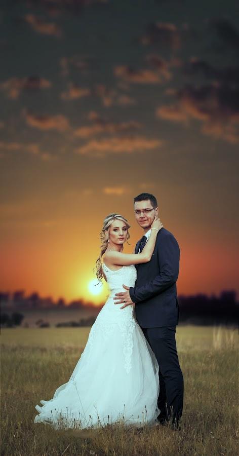 Sunset Couple by Shane Vermaak - Wedding Bride & Groom ( bride, dress, africa, groom, bride and groom, sunset, clouds, wedding )