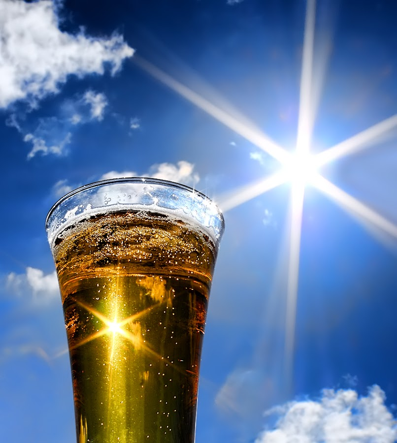 by Jane Bjerkli - Food & Drink Alcohol & Drinks ( clouds, sky, beer, blue, alcohol, drink, bubbles, glass, summer, sunshine, sun,  )