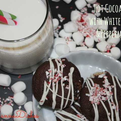 Hot Cocoa Cookies with White Chocolate and Peppermint Dust