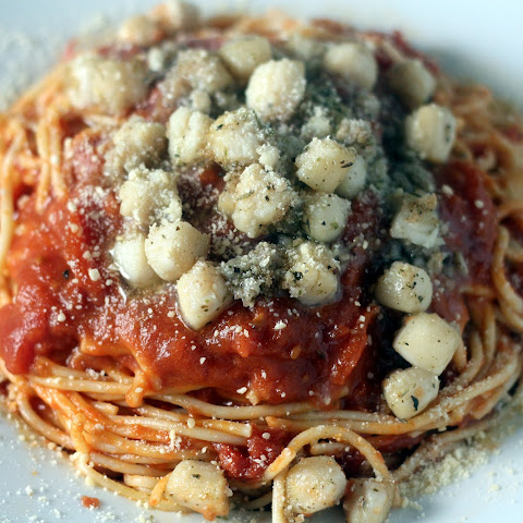 Parmesan Bay Scallops with Tomato Butter Spaghetti