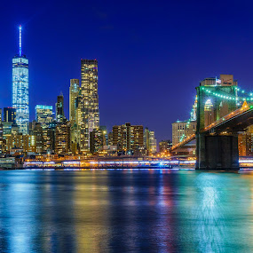 Bridge To Manhattan by Eric Yiskis - City,  Street & Park  Skylines ( lights, brooklyn bridge, new york skyline, new york new york, world trade center, cityscape, nyc, one world trade center, river, city )