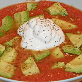 Gazpacho by Sandy Stevens Krassinger - Food & Drink Plated Food ( sour cream, gazpacho, food, avocado, plated food, dill weed )