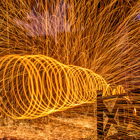 The Tunnel of Fire by Adrian Choo - Abstract Light Painting ( red, dawn, steel wool, hot, sunrise, sparks, fire )