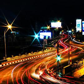 Light racer by Dhito Riyadi - Abstract Light Painting ( night shots, night photography, speed, indonesia, street, light trails, longexposure, nightlife, nightscape )