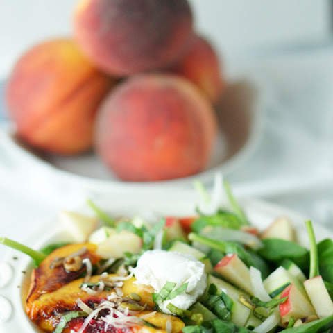 Grilled Peach, Basil and Goat Cheese Salad