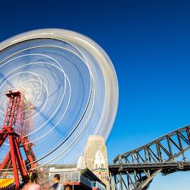 Spin by Jeremy Herbert - City,  Street & Park  Amusement Parks ( spinning, long exposure, sydney, luna park, ferris wheel,  )