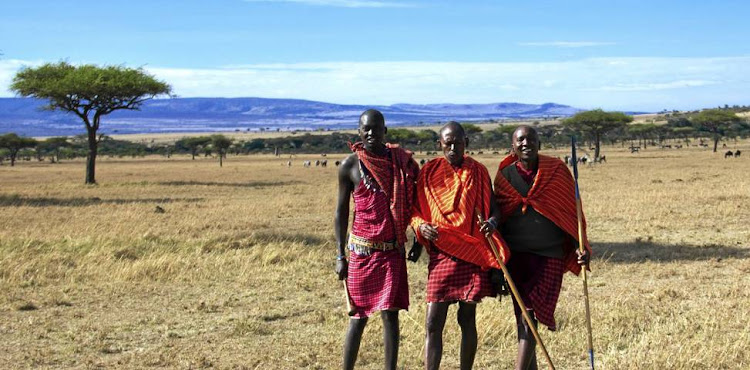Maasai guides Steve, Ndorobo and Mpata