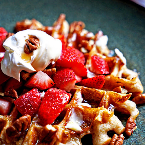 Whole Wheat Sourdough Waffles with Mascarpone Whipped Cream and Fruit