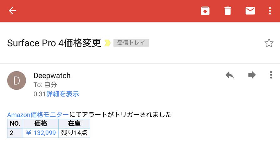 Surface Pro4 価格変更アラートメール
