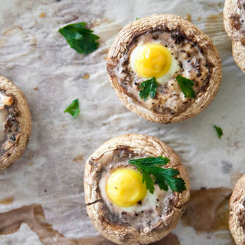 Quail egg stuffed Mushrooms