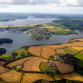 up the fal by Keith Sutton - Landscapes Prairies, Meadows & Fields ( water, flight, falmouth, aerial, fields )